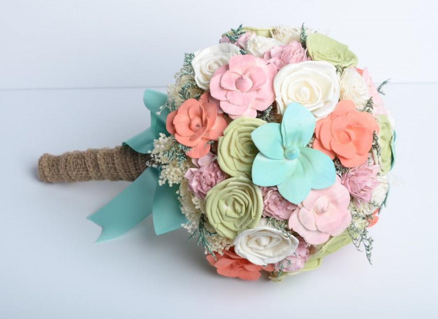 Mint C Sola Flower Bridal Bouquet Shabby Chic Alternative Keep Sake