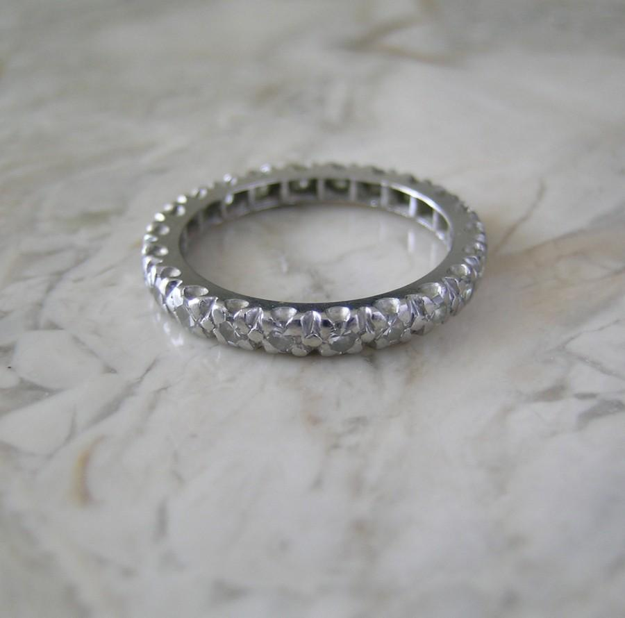 old diamond wedding ring or anniversary ring band original art deco antique platinum - Old Wedding Rings