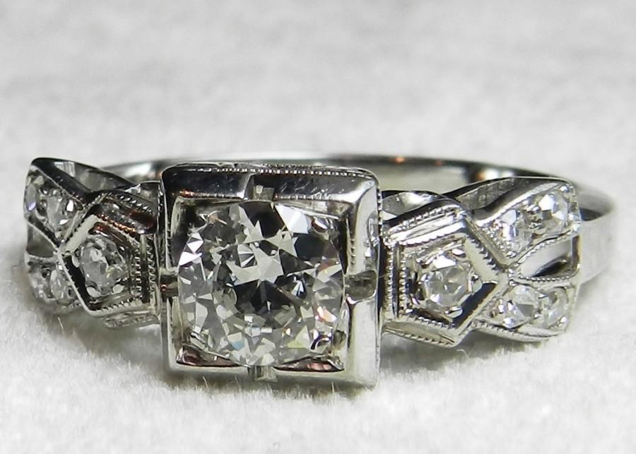 Wedding - Antique Engagement Ring .80 Ct tdw Old European Cut 18K White Gold Diamond Ring 1920s Antique Engagement Ring Art Deco Engagement Ring