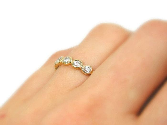 14k yellow gold zircons engagement ring gr 9407 anniversary ring