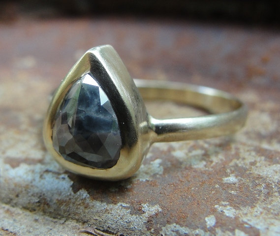 Mariage - Diamond Ring - Rose Cut Black Diamond Ring - Engagement Ring - Gold Ring - Solitaire Ring -  Alternative Engagement Ring - ooak