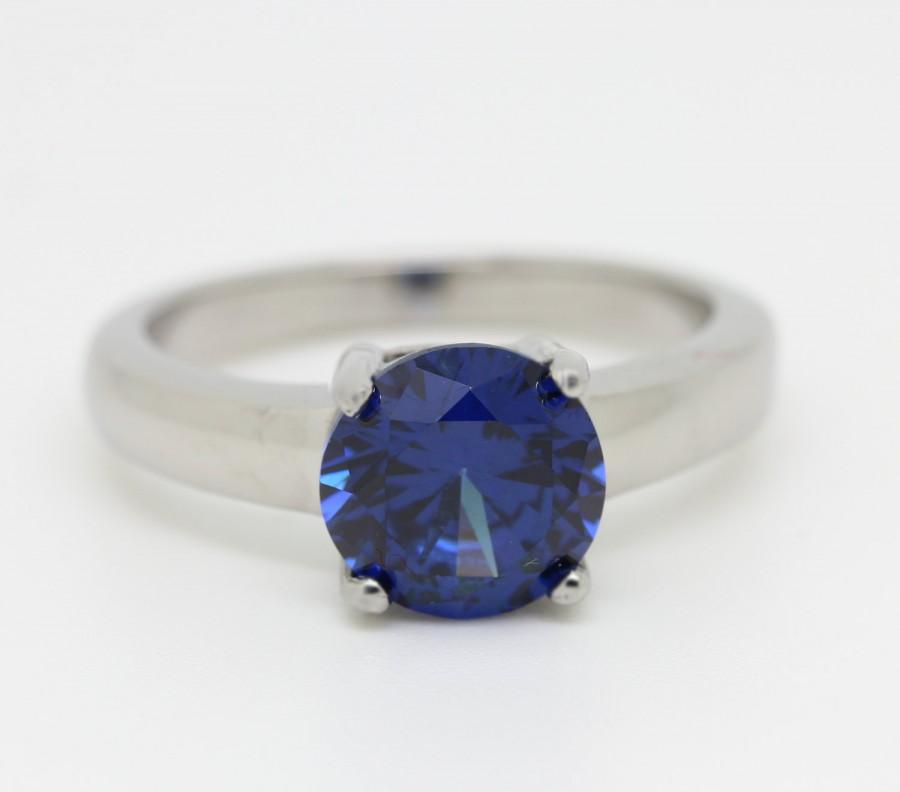Свадьба - 2ct London blue topaz Solitaire ring in Titanium or White Gold - engagement ring - wedding ring - handmade ring
