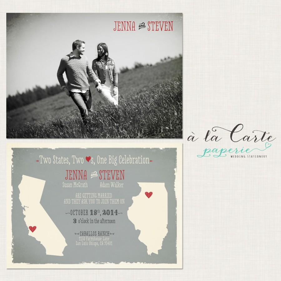 Destination Wedding Invitation Two States Two Hearts One Big