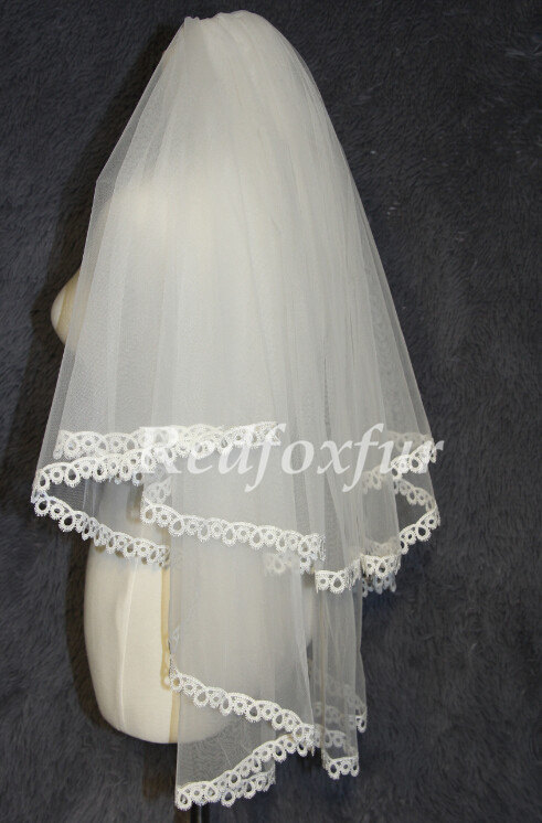 Mariage - Alencon Bridal Veil, two layers of lace, finger length lace wedding veil, double lace veil with lace trim