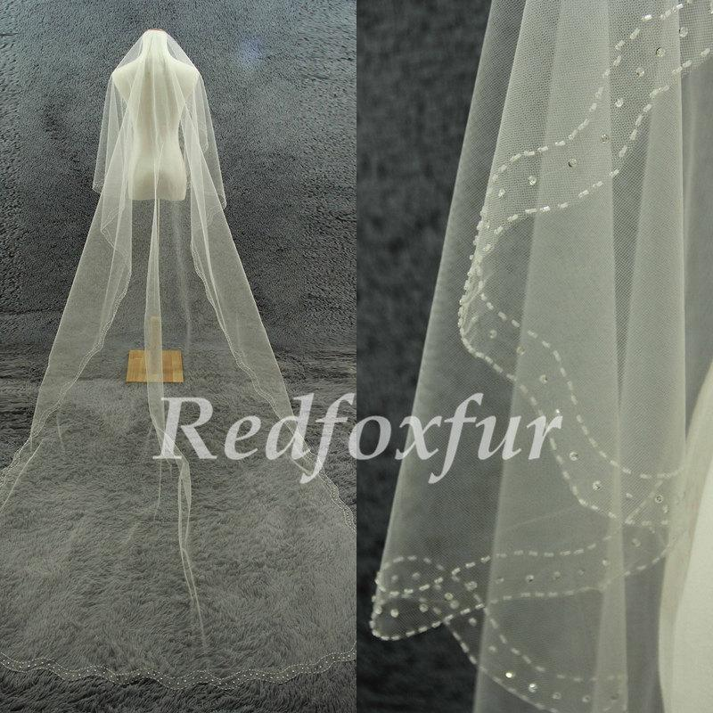 Mariage - Bride Cathedral Veil 1 tier Ivory Veil Refinement Hand-beaded Crescent edge 3 m Veil Wedding dress Veil No comb