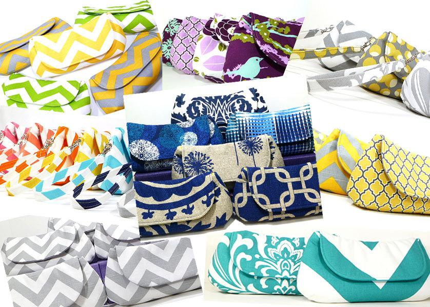 Свадьба - Bridesmaids Clutches Wedding Clutches Bridal Party Gifts Choose Your Fabric Set of 5