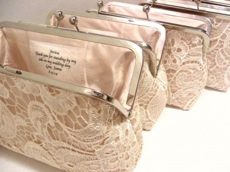 Свадьба - Set of 4 Champagne Lace Bridesmaid Clutches, Satin Personalized Lace Clutch, Wedding Clutch Set, Lace Gift Set, Eight inch Frame