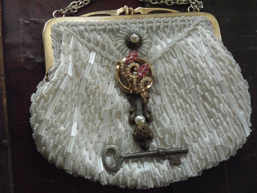 Wedding - White Wedding clutch, Beaded white purse, key to my heart series by Marelle, beaded bridal Handbag