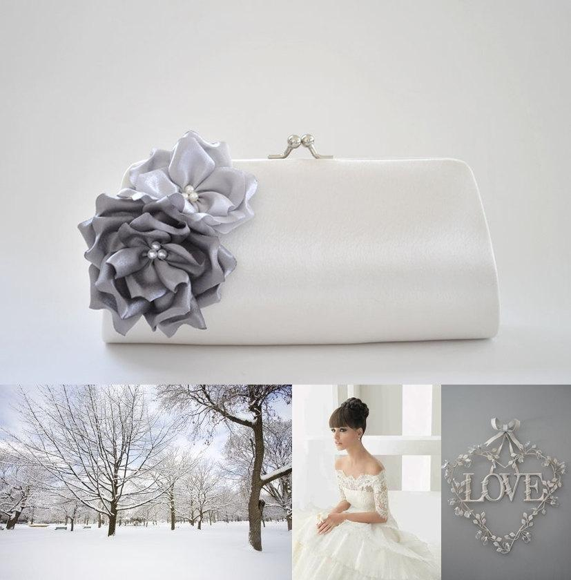 Свадьба - Winter Wedding - Wonderland wedding - Gray, Silver and Off white - Bridal Clutch / Bridesmaid clutch / Prom clutch / Cocktail Clutch