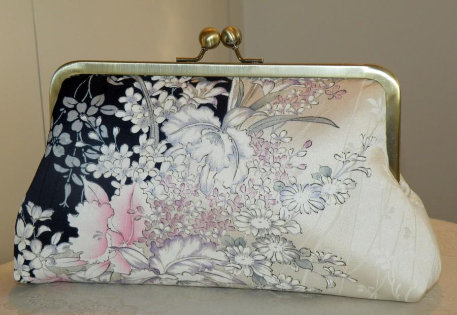 Mariage - Silk Kimono Fabric/Clutch/Puse/Bag..Cherry Blossoms..Orchids..Roses..Bridal/Wedding Gift..Midnight Blue and Ivory..see Wrap/Shawl