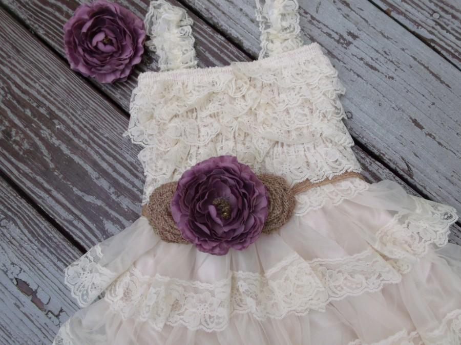 Purple And Burlap Flower Girl Dress Lace Girls Country Wedding Sash Rustic Birthday