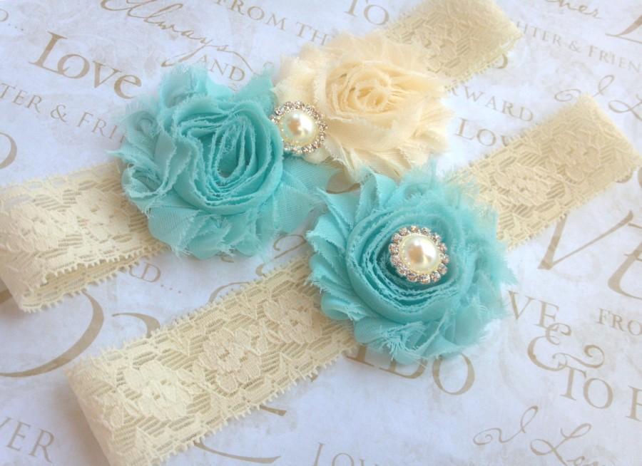 زفاف - Wedding garter / Ivory garter / bridal garter / lace garter / blue garter / keepsake garter/  toss garter/ garter set / blue garter/ teal