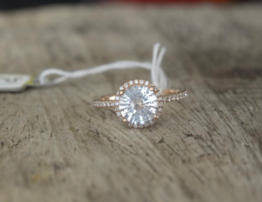 Wedding - 1.91 carat white sapphire, Rose gold, diamonds halo engagement ring  JOAN-812W
