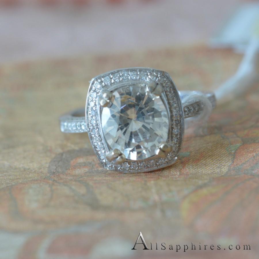 Mariage - Yellowish White sapphire ring natural UNTREATED 2.96 carat Diamond ring gold Ring Engagement ring P-017-3