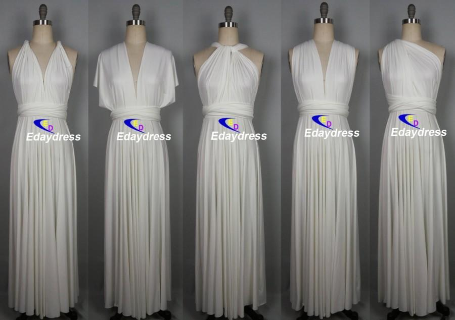 Maxi Full Length Bridesmaid Infinity Convertible Wrap Dress Off White Ivory Multiway Long Dresses Party Evening Any Occasion