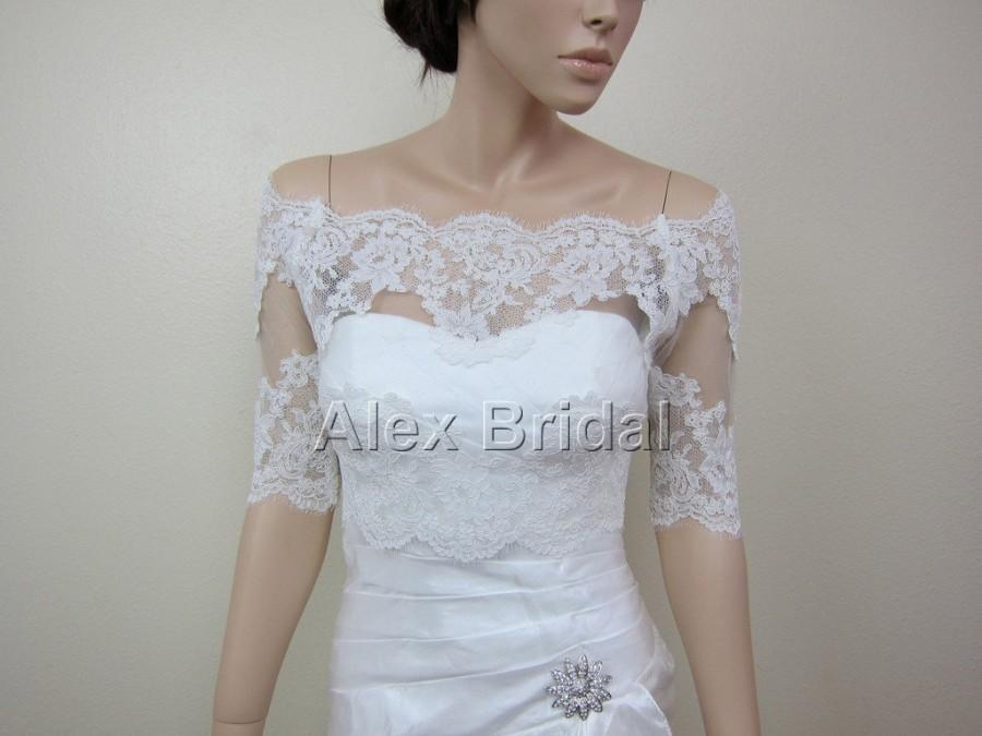 Sale off shoulder ivory alencon lace bolero jacket for Black lace jacket for wedding dress