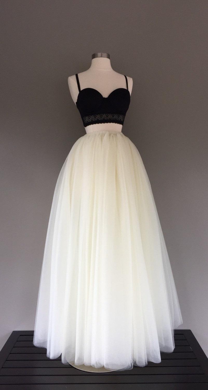 Mariage - Floor length tulle skirt, ivory tulle skirt, adult tulle skirt, ANY COLOR
