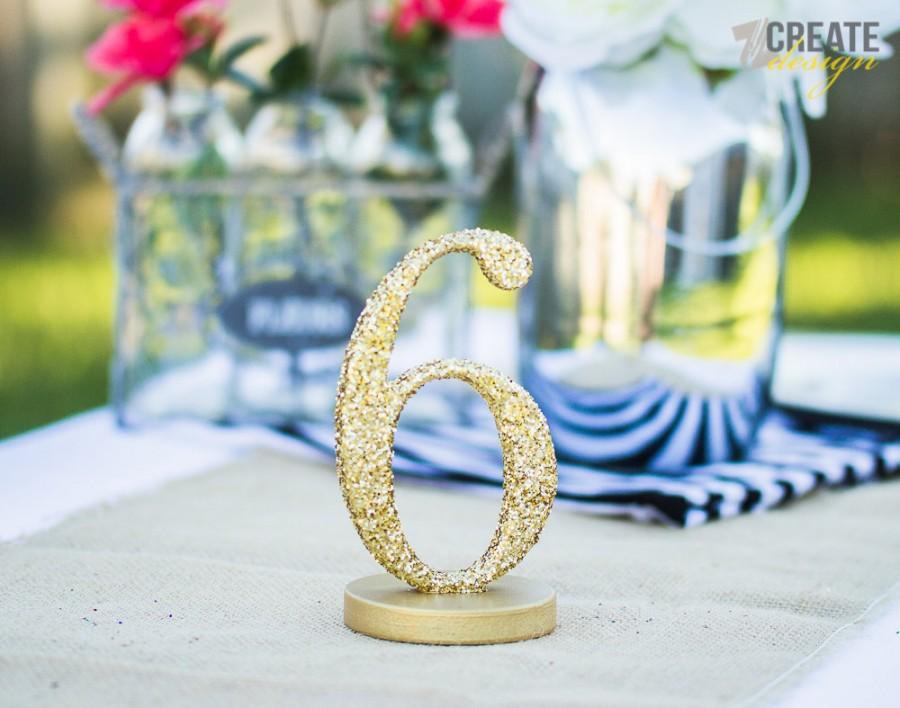 Mariage - Glitter Wedding Table Numbers - Gold Silver Glitter Wedding Table Numbers for Wedding Decor - Handmade Beautiful (Item - GLI120)