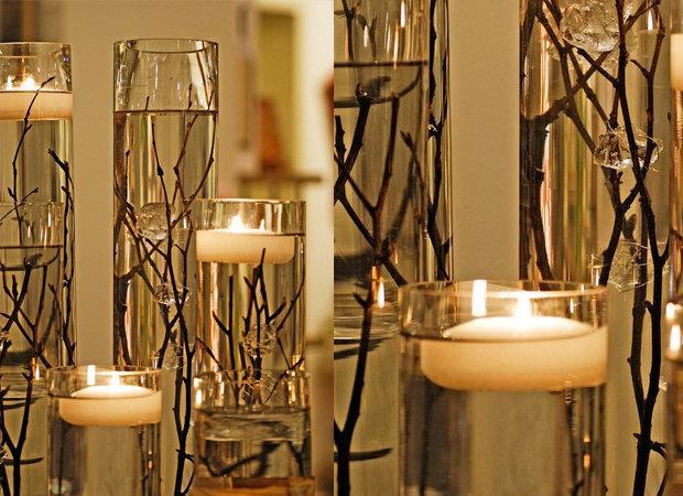 Mariage - LED Floating Waxed Candle Flame less Floating Candle White 6 pcs