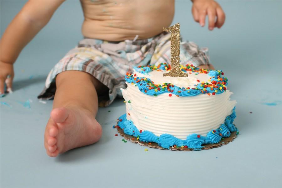 1 Cake Topper In Glitter First Birthday Cake Topper In Glitter