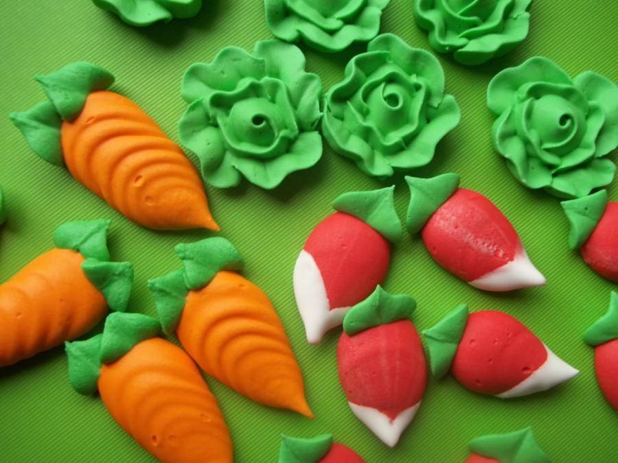 Edible Cake Decorations Vegetables : Royal Icing Vegetables -- Carrot, Lettuce, Radish ...