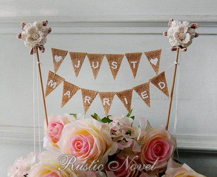 wedding cake topper rustic burlap cake bunting ivory cake topper just married 2467047 weddbook. Black Bedroom Furniture Sets. Home Design Ideas
