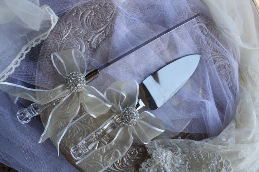 Свадьба - Wedding Cake Server and Knife Set  Crystal Handle Cake Server and Knife Set Brooch Wedding Cake Server Set