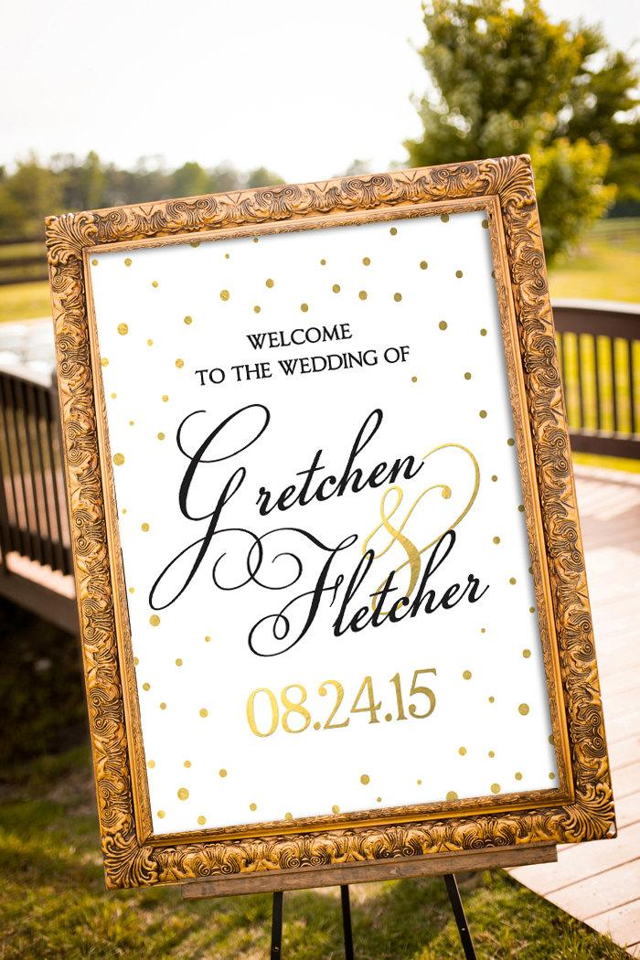 Gold Wedding Decor Black Party Large Custom Sign Printable Hashtag Art Deco Welcome