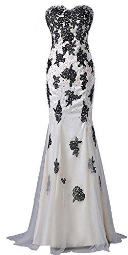 Wedding - Mermaid Long Black Applique White Wedding Dress