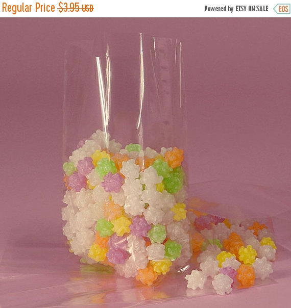 Glam 25 Medium Clear Cellophane Bags With Gusset Cello Party Favor For Candy Cookies Popcorn Wedding