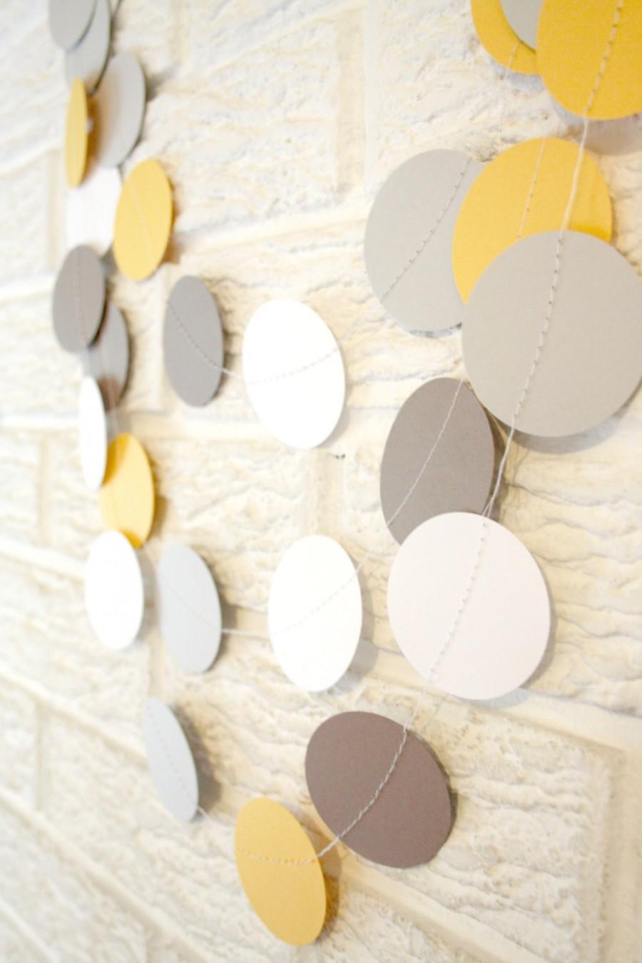 Wedding - Wedding decoration - paper circle confetti garland / birthday parties / nursery decor / baby shower sprinkle / grey ans yellow decor