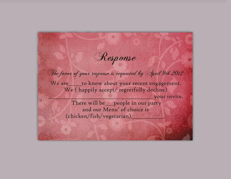 Hochzeit - DIY Rustic Wedding RSVP Template Editable Word File Instant Download Rsvp Template Printable RSVP Card Wine Red Rsvp Vintage Floral Rsvp