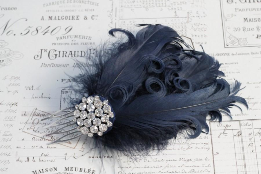Navy Feather Hair Comb Curly Feathers Wedding 1920s Flapper Style Bridal Accessories Headpiece Black Or Ivory
