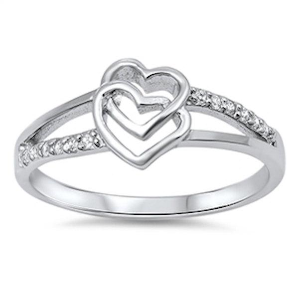 زفاف - Cute Double interlocked Heart Split Open Shank Round Diamond Clear CZ 925 Sterling Silver Promise Wedding Engagement Ring Valentines Gift