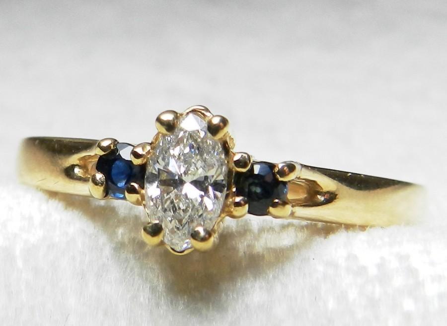 Mariage - Engagement Ring Diamond Sapphire Ring Blue Sapphire Engagement Ring 14K Blue Sapphire Genuine Diamond Engagement Ring September Birthday