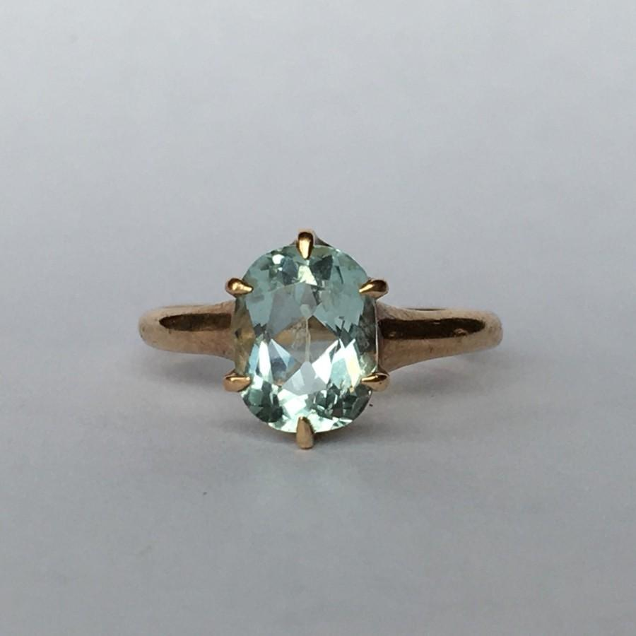 Wedding - Vintage Aquamarine Ring with 10k Yellow Gold Setting. 1+ Ct. Unique Engagement Ring. March Birthstone. 19th Anniversary Gift. Estate Ring