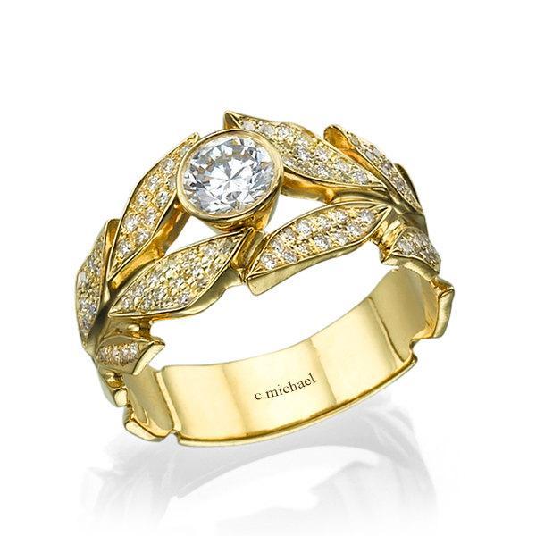 Wedding - Leaves  Engagement Ring, Yellow Gold Ring, Diamond Ring, Art Deco Ring, Wedding Ring, Leaf Ring, halo engagement ring, band ring, 14K Ring