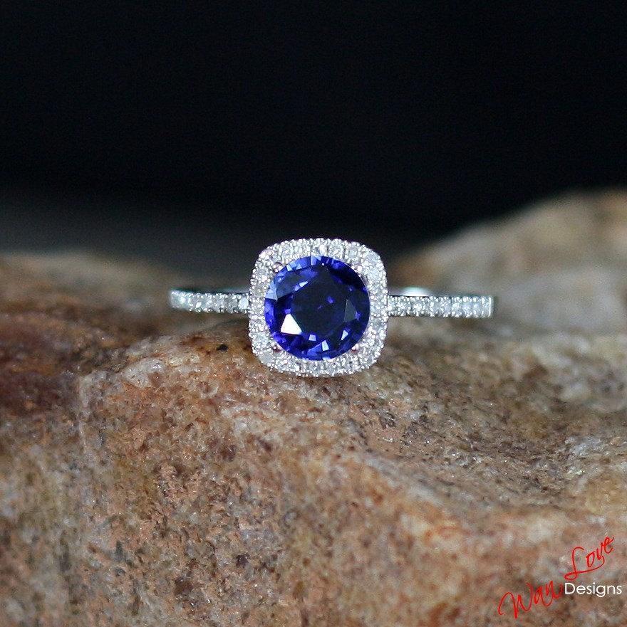 Wedding - Blue Sapphire & Diamond Cushion Halo Engagement Ring Round Cut 1ct 6mm 14k 18k White Yellow Rose Gold-Platinum-Custom-Wedding-Anniversary