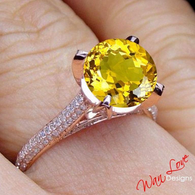 Wedding - Yellow Sapphire & Diamond Engagement Ring prongs 2.5ct 8mm Round Basket 14k 18k White Yellow Rose Gold-Platinum-Custom-Wedding-Anniversary