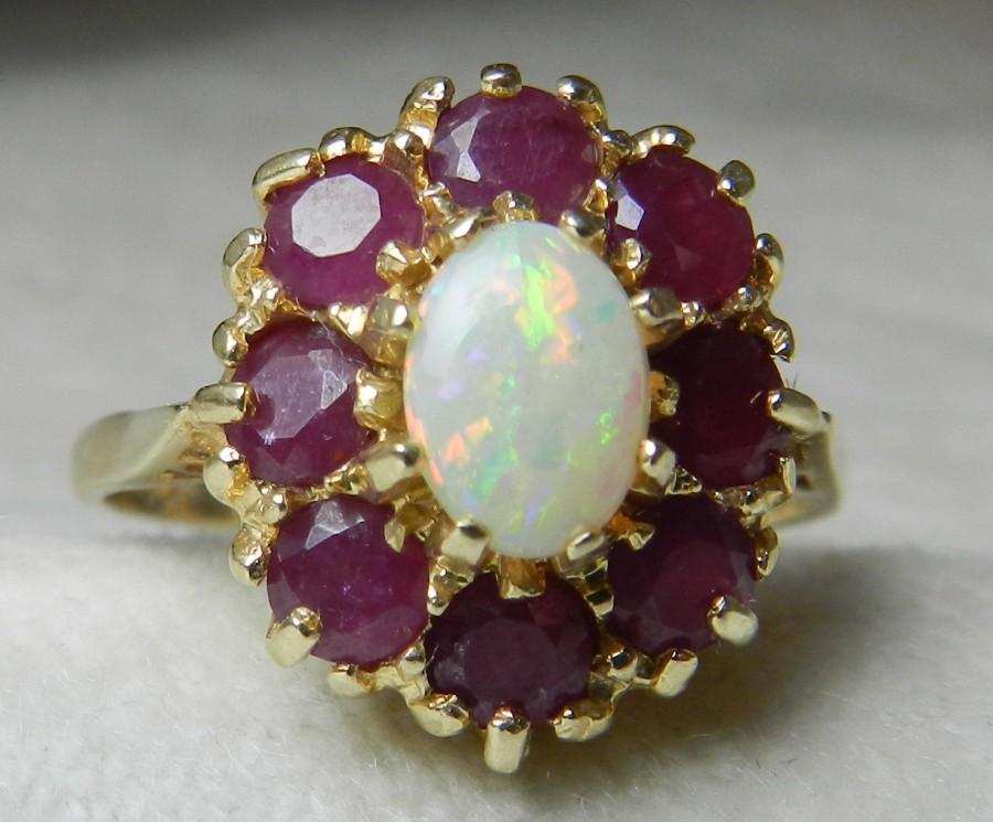 Wedding - Opal Engagement Halo Opal Ring Opal Engagement Ring Ruby Halo 14K Gold Genuine Ruby & Opal Unique Engagement Ring July October Birthstone