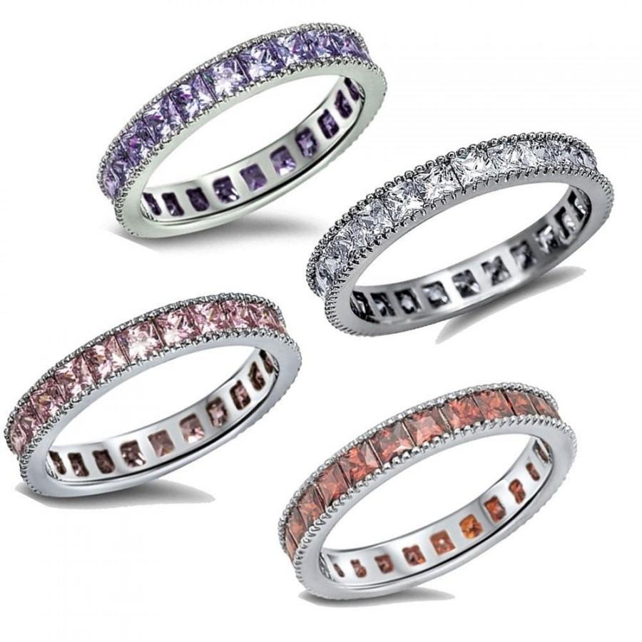 Mariage - Four Color 3MM 925 Sterling Silver Princess Cut Russian CZ Garnet Pink Topaz Amethyst Wedding Engagement Anniversary Full Eternity Band Ring