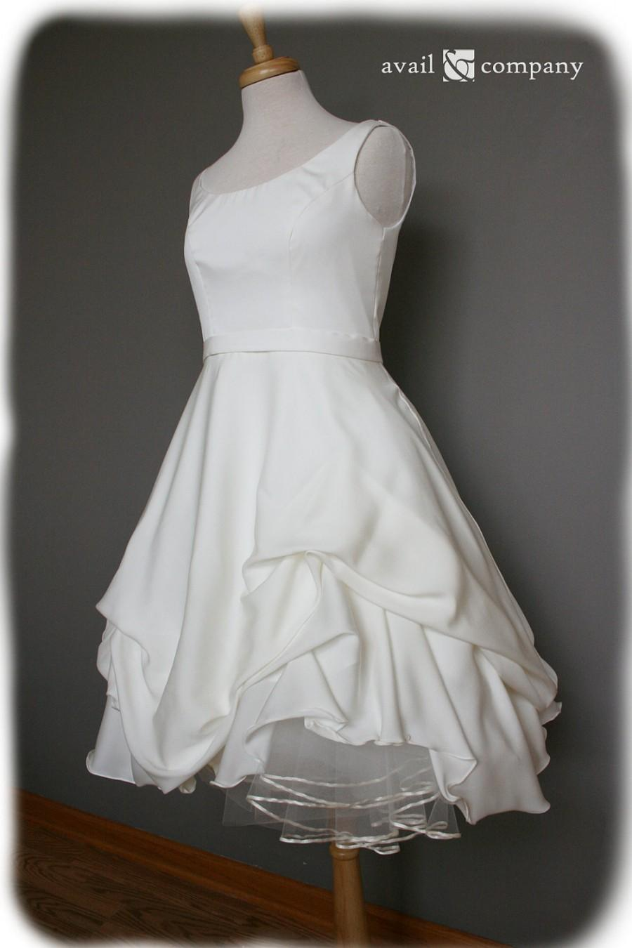 Mariage - Short Wedding Dress, Silk Crepe Georgette, Custom Made to Order in your size - Jackie Style