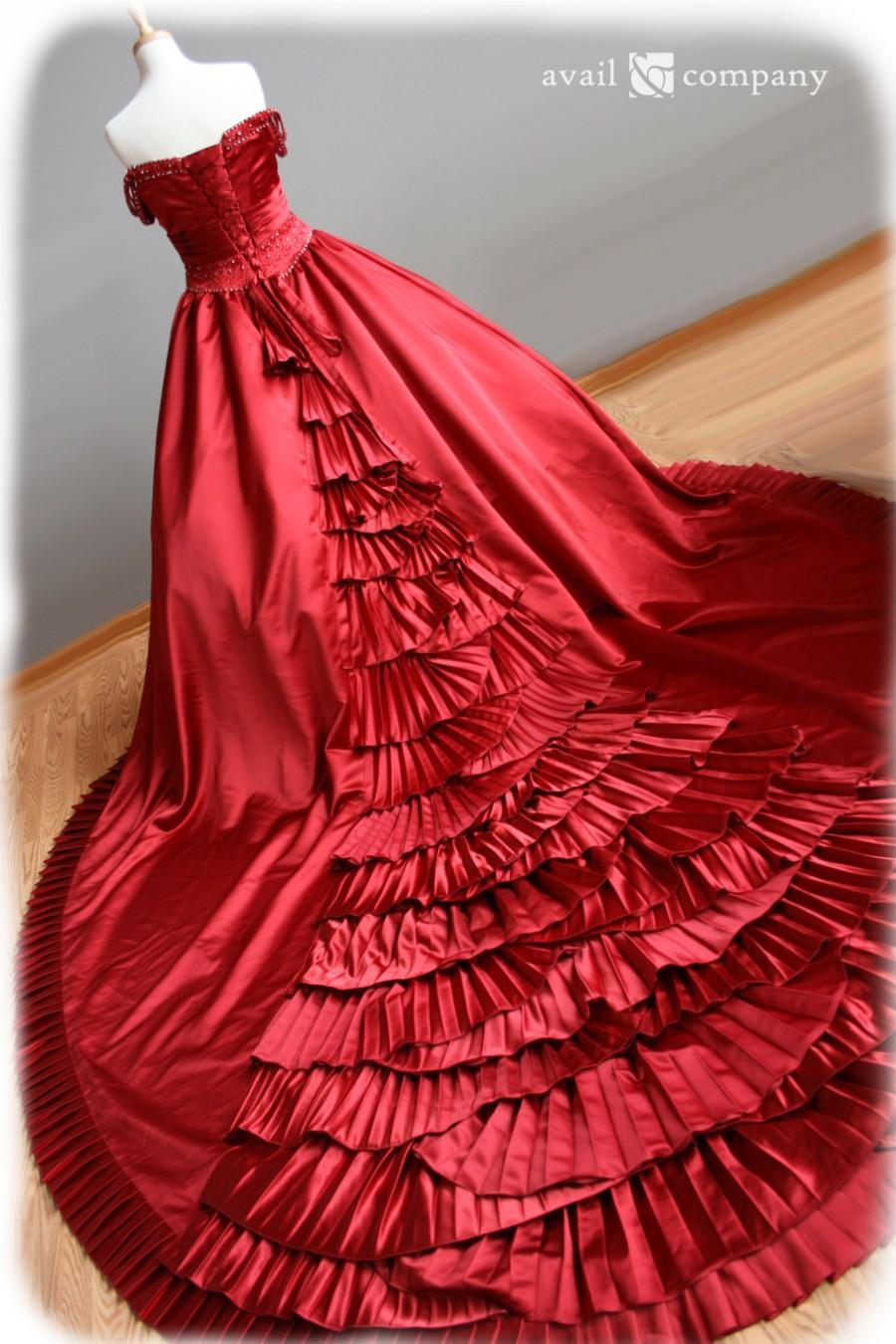 Red Wedding Dress Ball Gown Style With Pleats And Crystal Beading ...