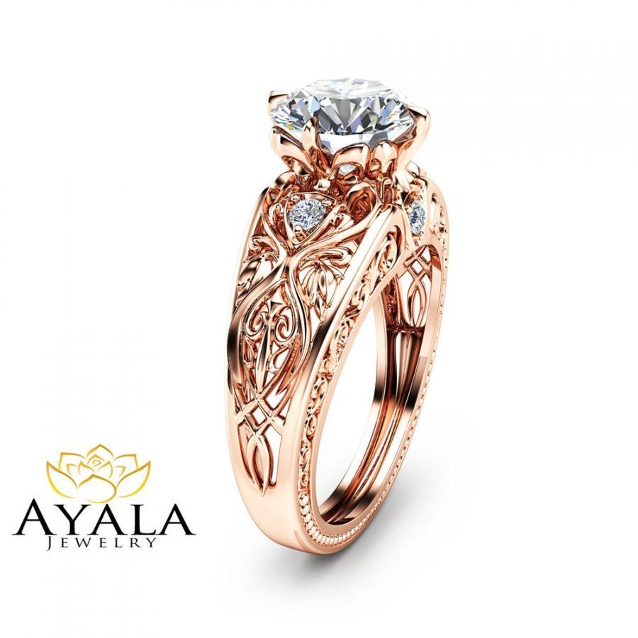 14k Rose Gold Engagement Ring Unique Design 2 Carat Diamond Art Deco Styled