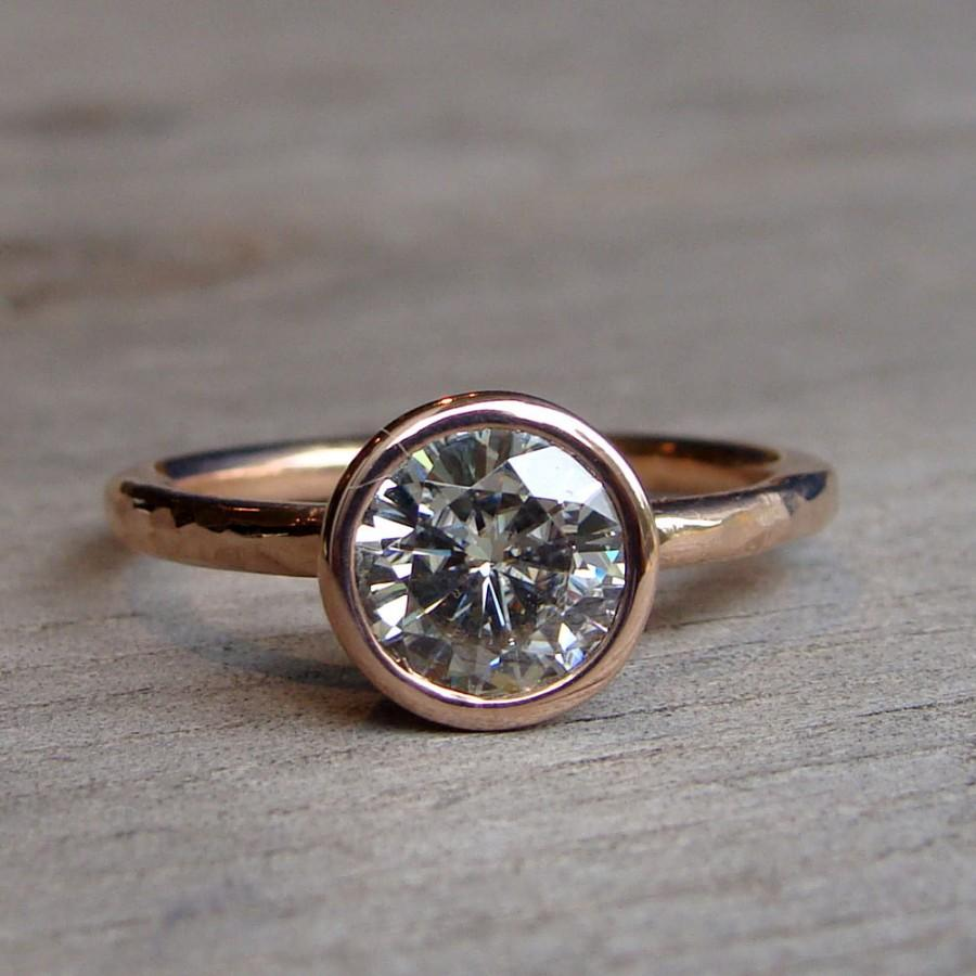 Mariage - Moissanite Engagement Ring - Recycled 14k Rose Gold, Made to Order - Eco-Friendly Diamond Alternative