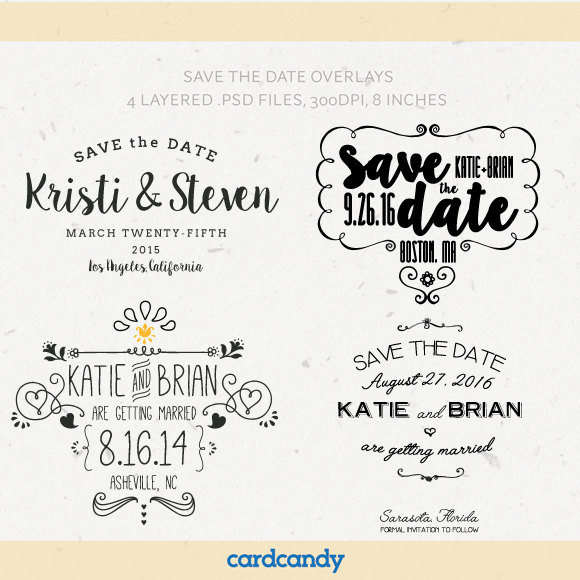 Digital Save The Date Overlays - Wedding Photo Card Overlays ...