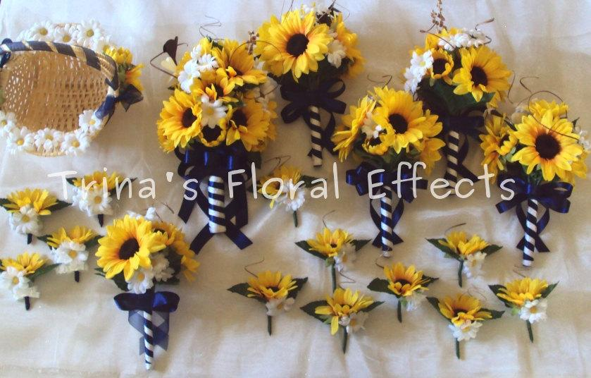 Wedding Bouquet Set Yellow Sunflower And White Daisy Country Western Flower Bouquet Or You