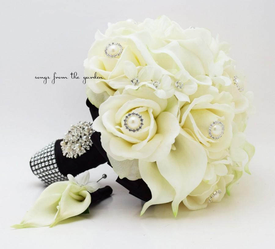 Hochzeit - Real Touch Bridal Bouquet Stephanotis Roses Calla Lilies in Black and White & Groom's Boutonniere - Customize for Your Colors