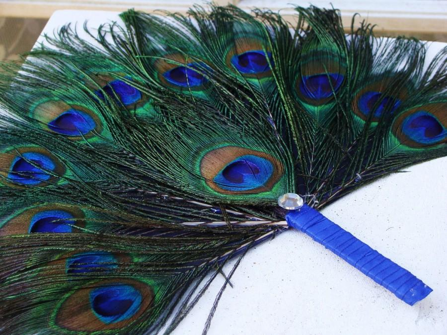 Wedding - Small Peacock Feather Favor Fan Costume Accessory