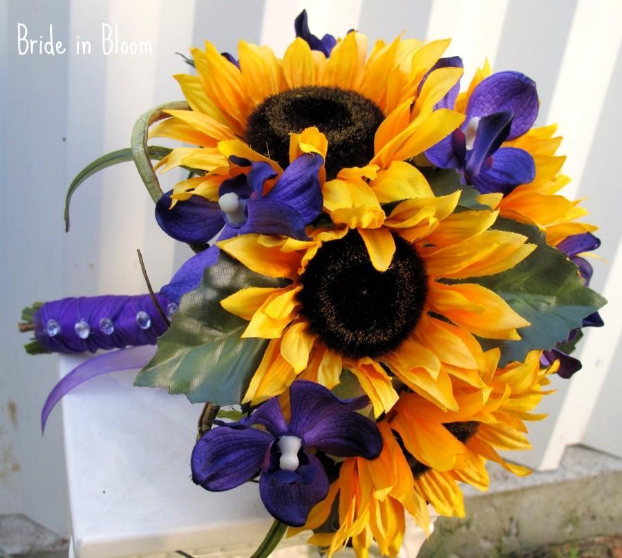 Hochzeit - Wedding bouquet Brides bouquet Sunflower purple orchids country woodland silk wedding flowers